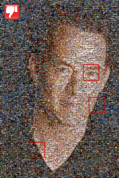 Photo mosaic using small cells
