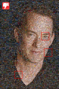 photo mosaic with superimposing/ghosting